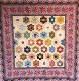 Quiltpakket Hexagon Quilt met paars/rood rand _