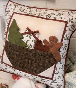 Quiltpakket Kerst Kussenhoes mand met kerstfiguren