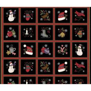 masf9211-J Flanel stofpanel met kerstfiguren per strook