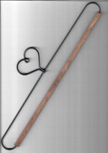 66770 Hanger 12 inch hart met met hout 30 cm