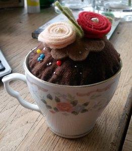 Quiltpakket cupcake Speldenkussen chocolade