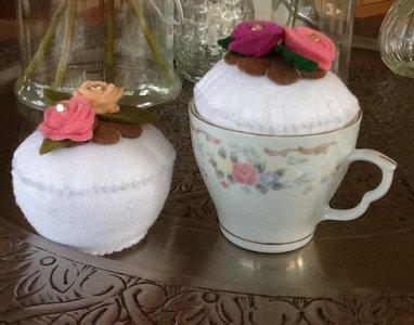 Quiltpakket cupcake Speldenkussen fondant Wit