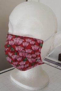 Bouwpakketje 2 stuks 3-plooi mondkapje  dun kleur Tulpen Roze Rood