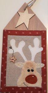Kersthanger Rudolph op hout