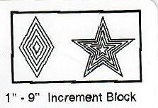 Quilt sjabloon W1812W 1 tot 9 inch / 2,5 tot 22,8 cm breed Increment Block Ster en Ruit