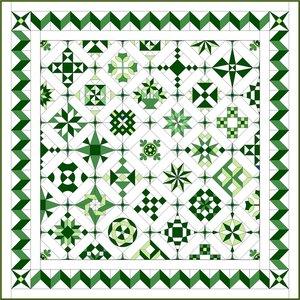 Stofpakket D Love & Hope Sampler Quilt Groen/cremewit
