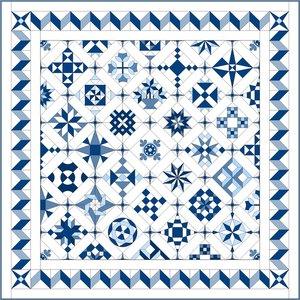 Stofpakket C Love & Hope Sampler Quilt Blauw/cremewit