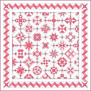 Stofpakket B Love & Hope Sampler Quilt Roze /cremewit
