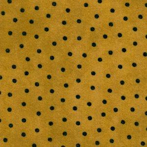 F18506-S2 woolies flanel okergeel  met zwart stipje