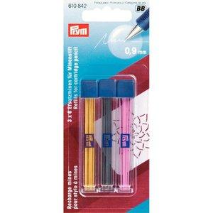 610842 Prym 3  kleuren vullingen voor vulpotlood
