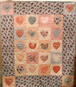 Kinderquilt hearts & birds