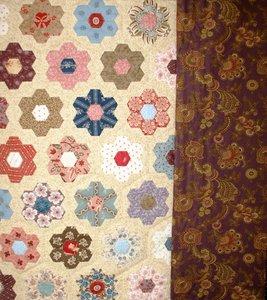 Quiltpakket Hexagon Quilt met donkerpaarse rand