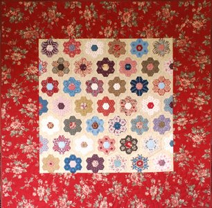 Quiltpakket Hexagon Quilt met rode rand