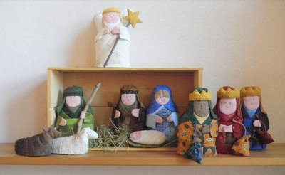 Kerst Stal groepje van Stof / Patroon