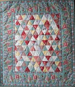 Mini Quilt Antieke Driehoekjes Oud Blauw
